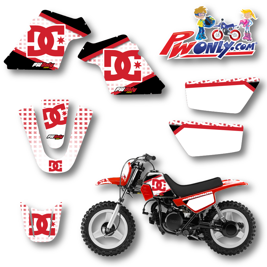 PW50 Red Plastic Fuel Tank Graphics, with Seat