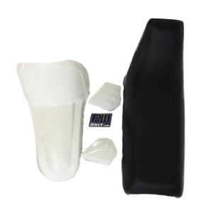 PW50 WHITE FRONT FENDER, BLACK SEAT and WHITE TANK COVER
